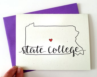 Penn State Graduate / State College PA / Pennsylvania Map Card / Penn State Student
