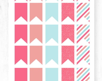 Snow Bird Flag Planner Stickers Pink Plum Blue
