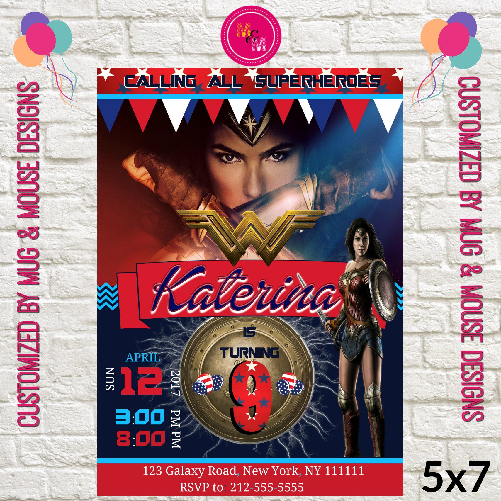 Wonder Woman Birthday Invitation Printable Wonder Woman Movie