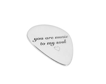 Sterling Silver Guitar Pick Custom Personalized Musician Anniversary Gift Engraved Artisan Handmade Designer Fashion Jewelry