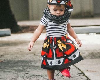 Girls Red Ankara African Skirt Set, Headwrap, Tribal, African Print Skirt, African Fabric, Black History Month