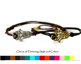 Silver or Gold Hamsa Hand Bracelet - Mens Hamsa bracelet - Womens Hamsa bracelet - cord bracelet - Friendship Bracelet - Hamsa Hand bracelet