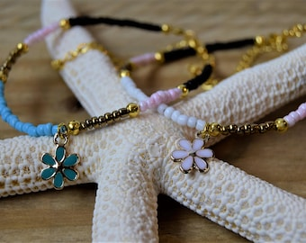 Flower Anklet, Seed bead anklet, Enamel Charm Anklet, Beaded Anklet, Womens anklet, girlfriend gift, valentines gift for her, pretty anklet