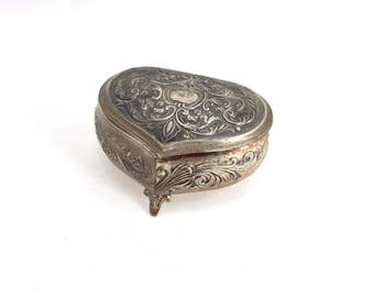 Vintage silver trinket box - filigree design, heart-shaped, footed, red velvet interior, 1950s 1960s, jewelry box