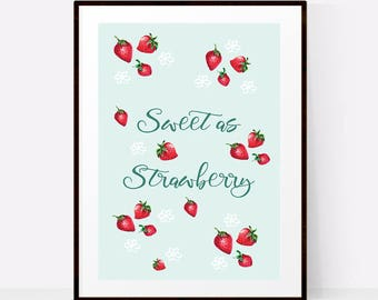 PRINTABLE wall art, Nursery decor wall art, Girls room decor, Nursery wall art girl, Sweet as Strawberry, Nursery prints girl