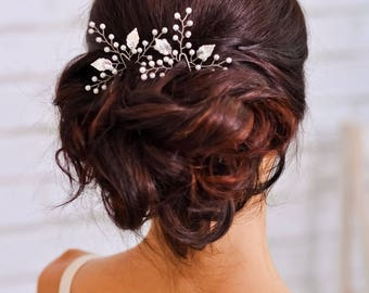 Wedding hair pin Bridal leaf hair clip Silver leaf headpiece Bridal hair pins Gold hair pin Silver jewelry Leaves wedding hair accessories