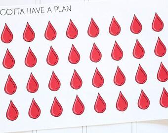 Planner Stickers Blood Drop for Erin Condren, Happy Planner, Filofax, Scrapbooking