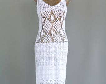 Vintage Crochet Mexican Strappy Summer Dress