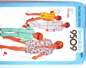 Boys Pajamas Pijamas PJs Jammies Sewing Pattern Simplicity 9509 Size 6 8, Long or Short Sleeves Two Lengths Button Front, Classic Style 1980
