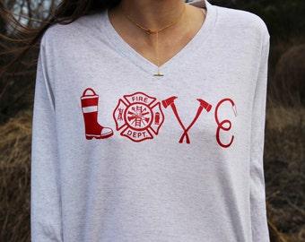 Firefighter Wife Shirt - Womens Firefighter Shirt - Fire Wife Shirt - Firefighter Love Shirt - Love my Firemen Shirt - Fireman Love - Wife -