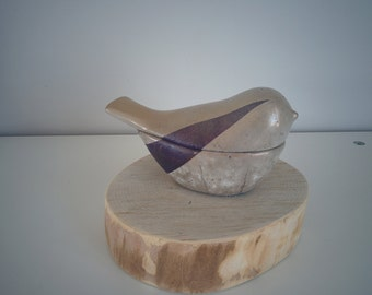 Concrete Jewelry box - bird shape  Purple and Gold