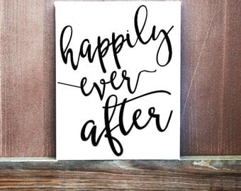 Happily Ever After Wedding Sign, Best Day Ever Canvas, Wedding Gift, Ready To Hang, Wedding Decoration, Wedding Idea, Wedding Date
