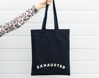 Reusable Canvas Bag - Canvas Shopper - Eco Bag - Cotton Tote Bag - Back to School Bag - Exhausted Black Tote Bag - Alphabet Bag
