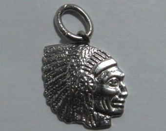 Native Indian Chief With Headdress War Bonnet Silhouette Sterling Silver Charm for Bracelet or Pendant