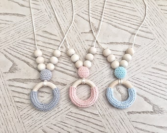 Wood / Crochet Beads Teething Necklace / Nursing Necklace Jewelry for Mom and Baby Shower Gift - Toy - Baby Shower