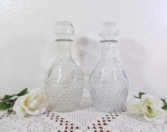 Vintage Decanter Set Clear Glass Matching Liquor Bottle Barware Mad Men Home Decor Holiday Entertaining Bar Display Birthday Gift Him Her