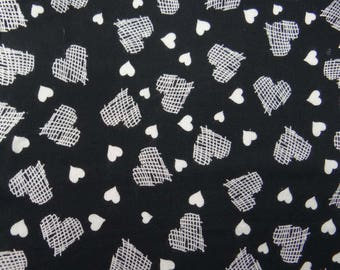 """Indian Dress Fabric, Heart Print, Decorative Fabric, Black Fabric, Sewing Crafts, 44"""" Inch Rayon Fabric By The Yard ZBR275A"""