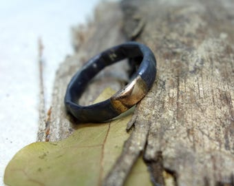 Wedding Band Engagement Ring Unique Oxidized Silver Ring Mixed Metal Men's Ring Handmade Wedding Ring Sterling Silver Ring & Solid Gold
