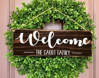 Welcome Sign, Welcome Door Sign, Wedding Gift Door Sign, Personalized Name Sign, Family Name Sign, Housewarming Gift, Family Sign