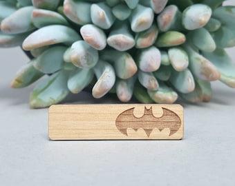 Batman Tie Bar - Laser Engraved Alder Wood - Bruce Wayne Tie Clip