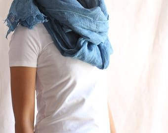 Eco-friendly clothing,Blue,Linen simple,Linen scarf,Linen wrap,Linen accessories,Linen large scarf,Organic clothing women,Naturally dyed