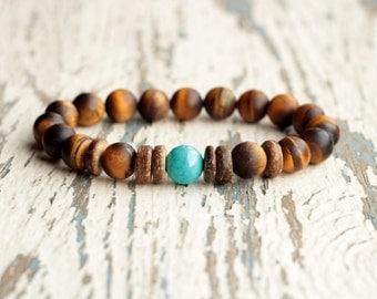 african style mens bracelet brown tiger eye beads wooden bracelet mens gem jewelry tribal bracelet women boyfriends gift idea for brother