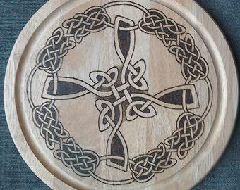 St Brigid's Cross Knotwork Variation Bread Board; St Brigit; Knotwork Cross;