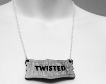 TWISTED NECKLACE - laser cut wood on sterling silver chain wooden sign vintage style steampunk label cut out pendant jewellery