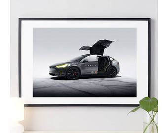 Tesla Model X Side View #1 | automotive photography | automotive prints | car photography | car prints | American Car | 8 sizes
