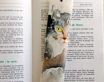 Original watercolor bookmark of a  grey cat - bookmark original painting of a grey cat - hand made bookmark - gift idea