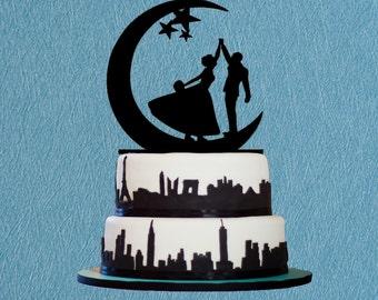 Bride & Groom Dancing on the Moon Wedding Cake Topper With Star,Wedding Cake Topper-Danceing on the Moon Wedding,Romantic Cake Topper
