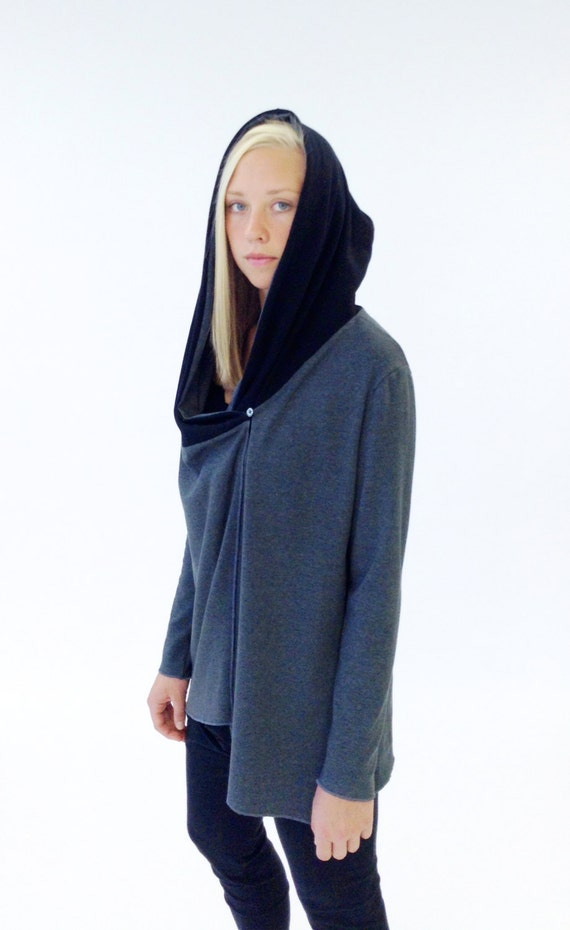 Women's Long Sleeve Hooded Jersey Cardigan Knit Grey and