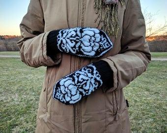 Hand knit wool acrylic mittens, wool mittens with Nordic patterns, nordic mittens, knit wool mittens, wool mittens nordic, handknit mittens