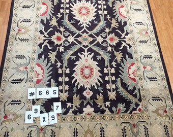 """6'9"""" x 9'7"""" Persian Sultanabad Oriental Rug - Hand Made - 100% Wool"""