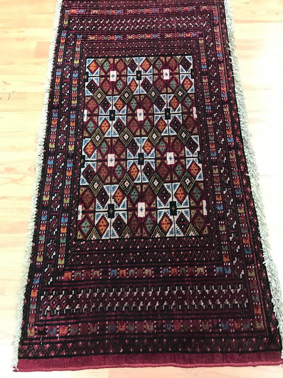 "1'8"" x 3'4"" Persian Turkeman Oriental Rug - 1950s - Hand Made - 100% Wool"