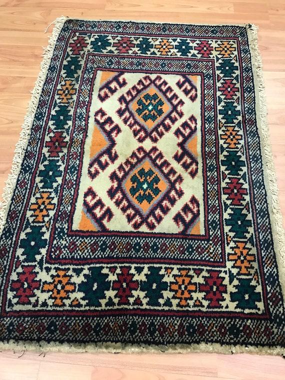"1'11"" x 2'11"" Persian Turkeman Oriental Rug - 1950s - Hand Made - 100% Wool"