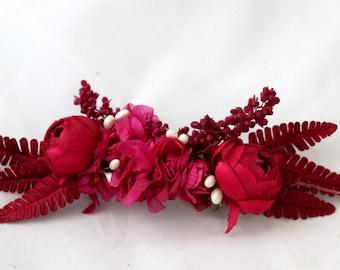 Flower,barrette,pink,burgundy,leafs,cloth,boho,wild,ivory,pink,natural,handmade, barrette,clip,seeds,hydrangea,roses