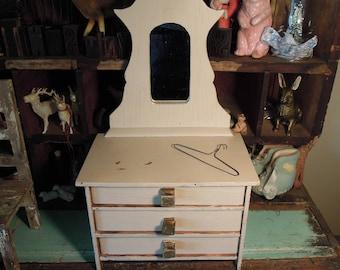 Vintage Wooden Doll Dresser / Cream Mirrored Doll Vanity / Doll Furniture