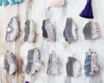 Amethyst Slice, Amethyst Pendant, Gemstone Pendant, Boho Pendant, Earthy Pendant, Amethyst Druzy, Chakra Pendant,  GE014