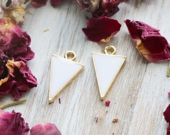 set of 2, geometric charms, triangle charms, gold charms, white enamel charms, dainty charms, modern charms, 20mm x 13mm