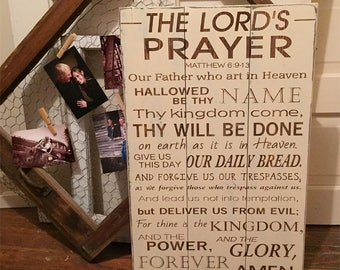 The Lord's Prayer Wood Sign • Scripture Plaque • Shabby Chic Decor • Bible Verse • Custom Scripture Hanging • Rustic Scripture Art • Matthew