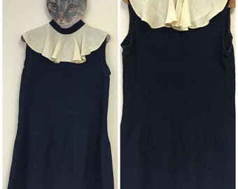 1960's Navy Blue Mini Dress With White Collar