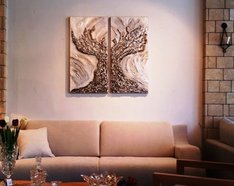 Original 2 piece abstract metallic bronze-silver oil painting thorn-bush tree , modern artwork, Extra large painting on canvas, house decor