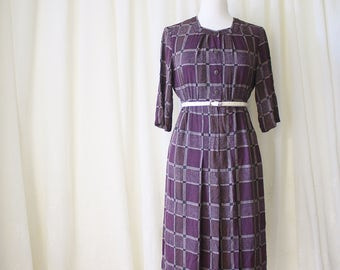 Plum Vintage Dress, Chequered 70s Japanese Vintage Day Dress, Small 4156