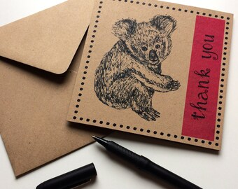 Koala Card Thank You, red pink koala bear illustration greetings card, unique way to say thanks to an animal lover, ideal for aunt, mum, her