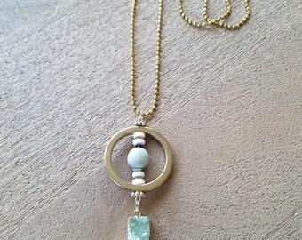 Hematite & Mint Geode Necklace
