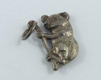 Koala Bear on a Tree Branch Sterling Silver Charm.