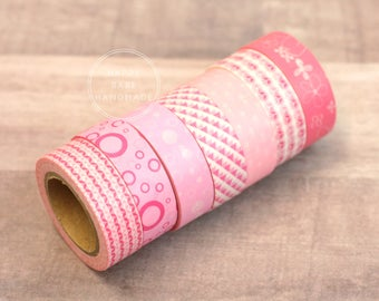 """Pink Washi Tape, Pink Tape, 9/16"""", 10 Yds Each, Decorative Tape, Washi Tape, Pink Party Decor, Pink Masking Tape, Set of 7, Baby Shower"""