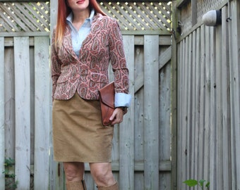 """1980s Classic Vintage Beige Suede Pencil Skirt Size Small XS Waist 26"""""""