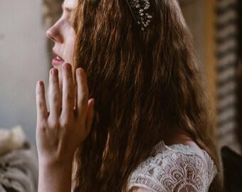 """Wedding """"Primrose crown"""", bridal headpiece, hairvine, flower crown, vintage hairstyle, Made in italy"""
